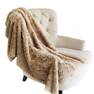 Plutus Champagne Persian Chilla Faux Fur Handmade Luxury Throw