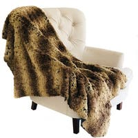 Plutus Beige and Brown Chinchilla Faux Fur Luxury Throw