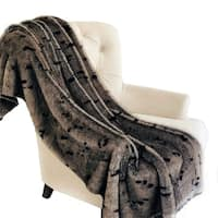 Plutus Gunmetal Gray Tones Tissavel Faux Fur Luxury Throw