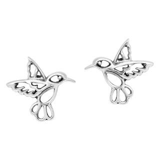 Handmade Little Hummingbird in Flight Sterling Silver Earrings (Thailand)