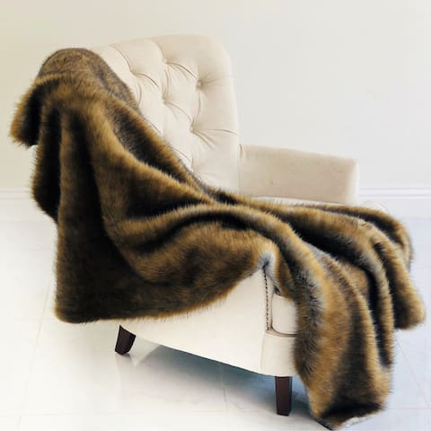 Plutus Brown and Grey Wild Grizzly Bear Faux Fur Luxury Blanket
