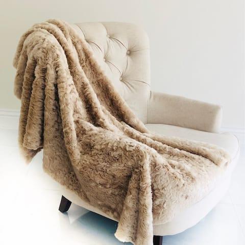 Plutus Champagne Persian Chilla Faux Fur Handmade Luxury Blanket