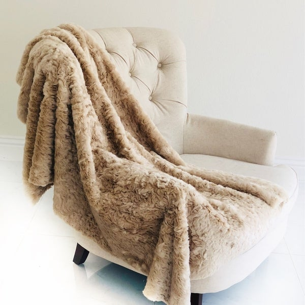Plutus Champagne Persian Chilla Faux Fur Handmade Luxury Blanket. Opens flyout.
