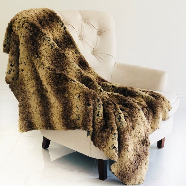 Plutus Beige and Brown Chinchilla Faux Fur Luxury Blanket
