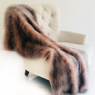 Plutus Ice Pink Wild Ostrich Faux Fur Handmade Luxury Blanket