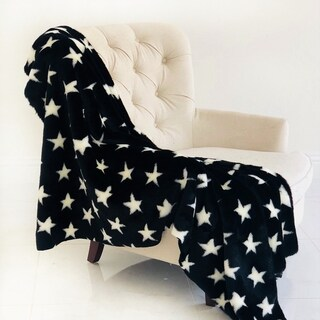 Plutus Black and White Stars Soft Handmade Luxury Blanket