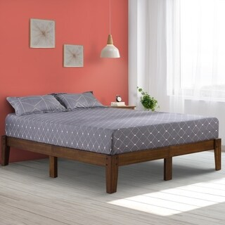 Sleeplanner 14 Inch High Rustic Wood Platform Bed Frame, Queen Size