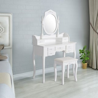 Kinbor Vanity Set Dressing Table Vanity Makeup Table Set With Cushioned Stool & Round Mirror