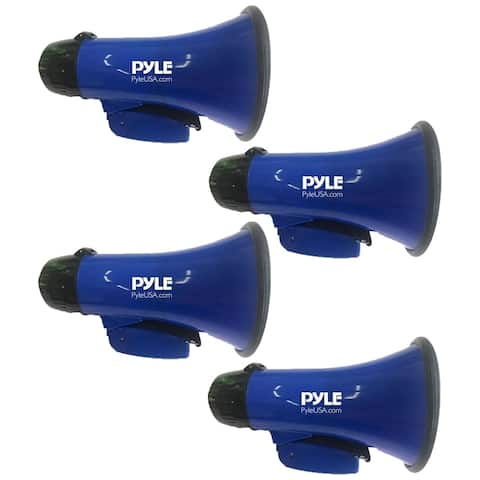 (4) Pyle PMP21BL Portable Megaphone Speaker Siren Bullhorn Compact and Battery Operated with 20 Watt Power, Microphone, 2 Modes