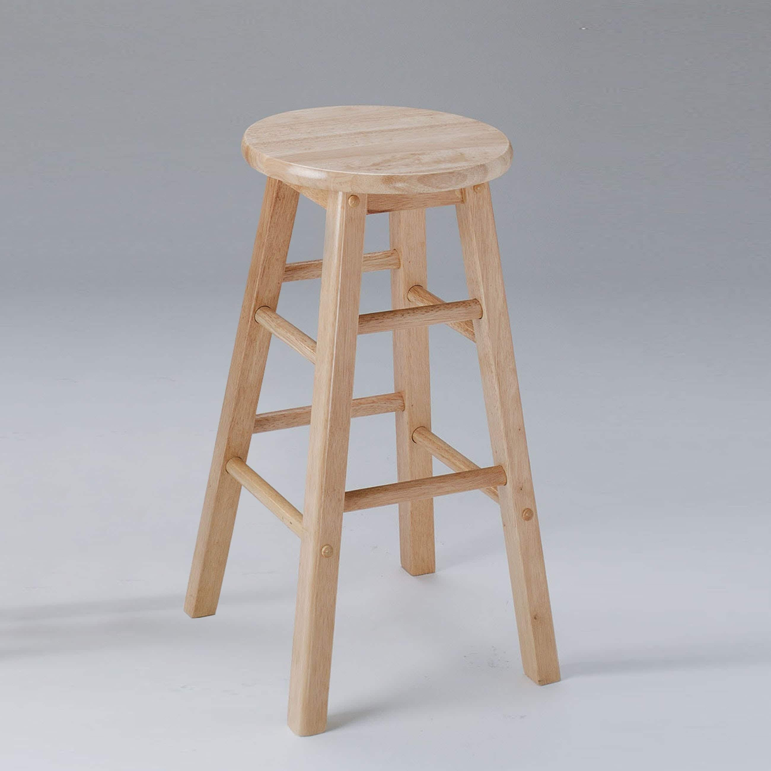 Awe Inspiring Wooden Counter Height Stool With Foot Rails Set Of 2 Natural Brown Pdpeps Interior Chair Design Pdpepsorg