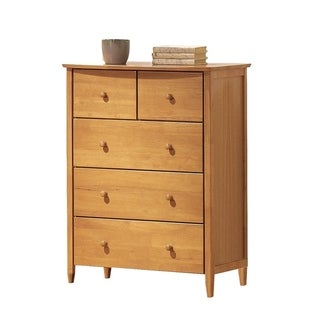 Wooden Chest With 5 Storage Drawers , Maple Brown