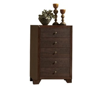 Wooden Chest with 5 Spacious Drawers  , Espresso Brown
