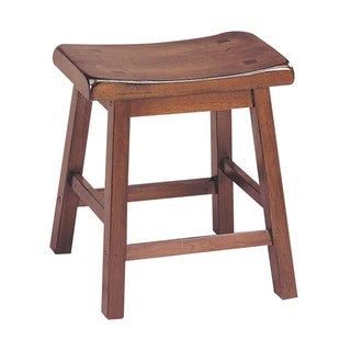 Wooden Stools With Saddle Seat, Walnut Brown, Set of 2