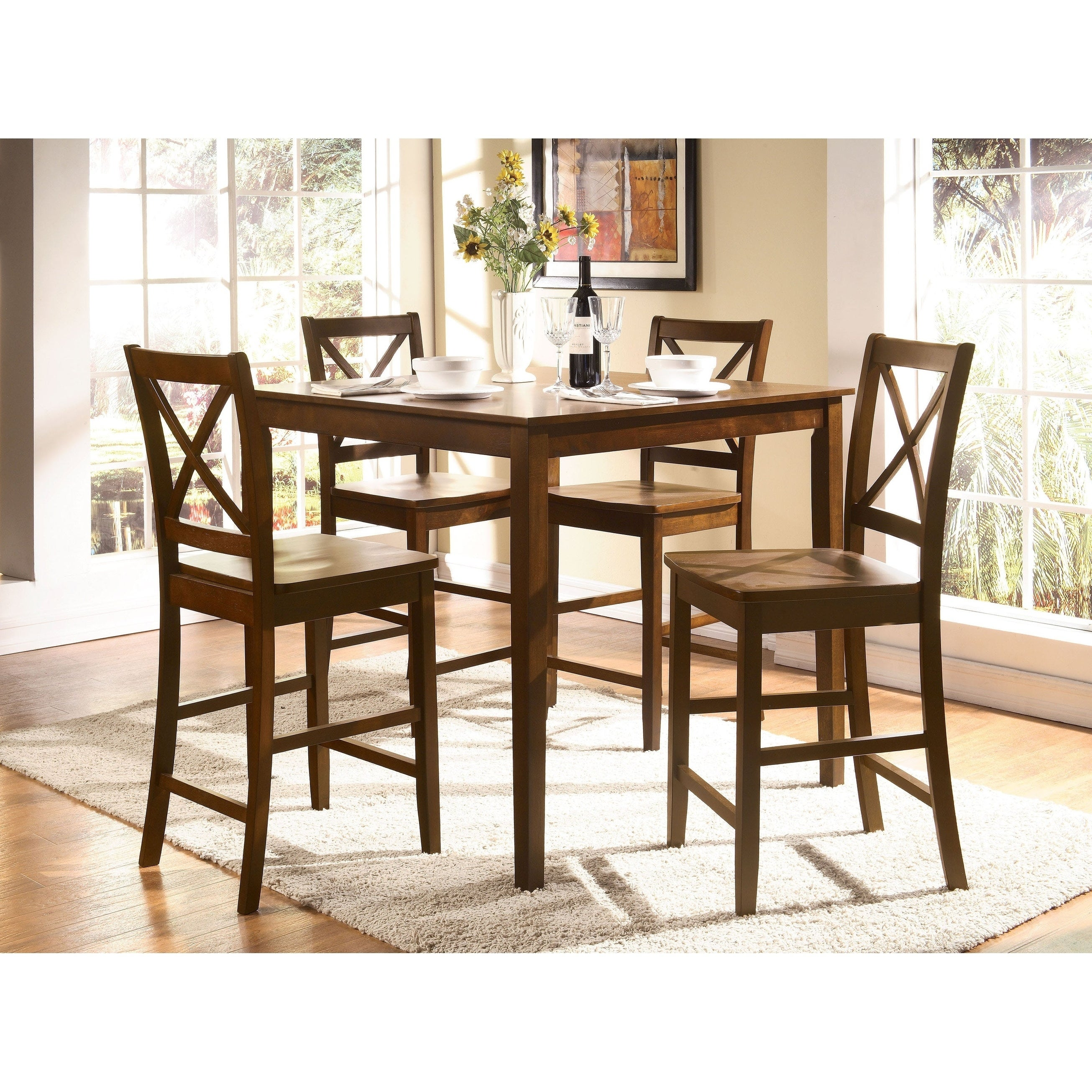 5 Piece Wooden Counter Height Dining Set Light Brown Overstock 22882185