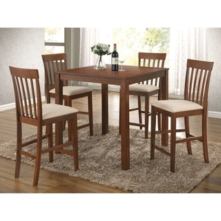 5 Piece Wooden Counter Height Dining Set, Brown & Ivory