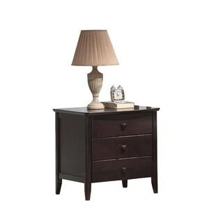 Wooden Nightstand With 3 Drawers, Dark Walnut Brown