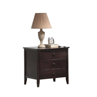 Wooden Nightstand With 3 Drawers, Dark Walnut Brown