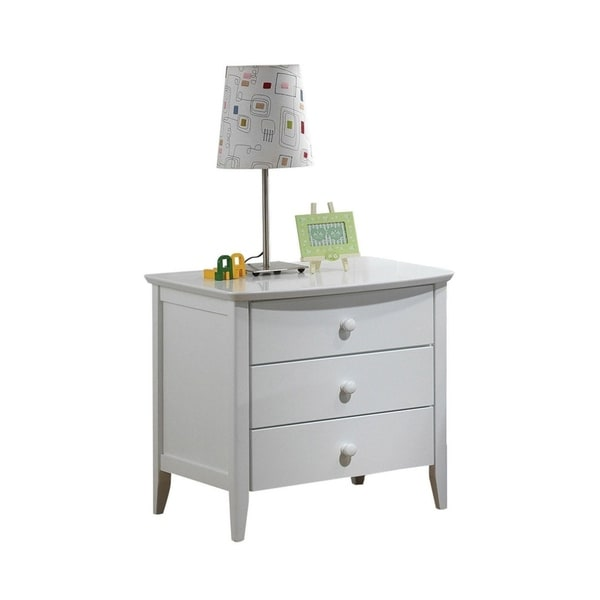 Contemporary Wooden Nightstand with 3 Drawer , White