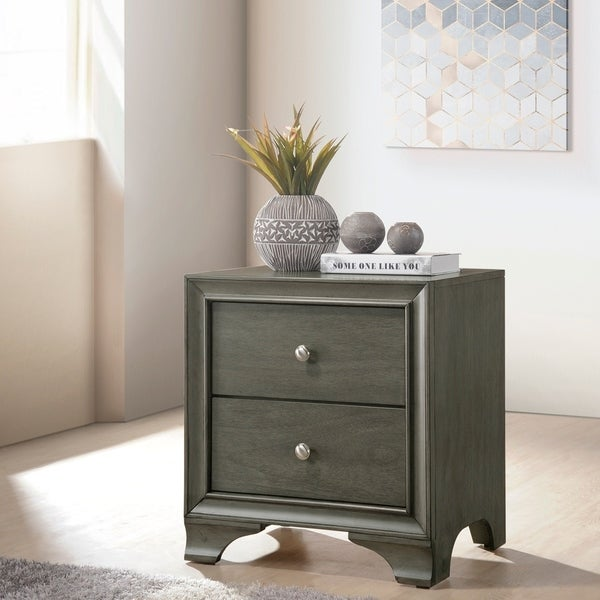 Wood Nightstand With 2 Drawers in Gray