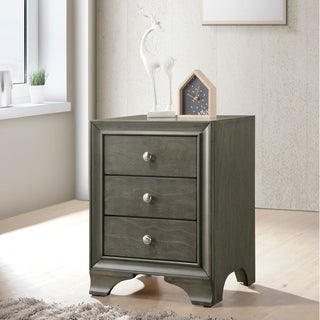 Wood Nightstand With 3 Drawers in Gray