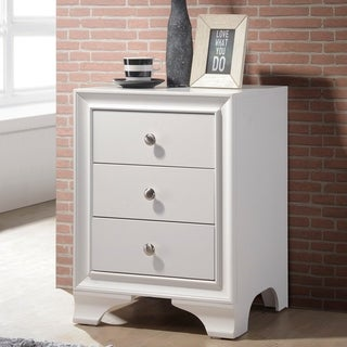 Wood Nightstand With 3 Drawers in White