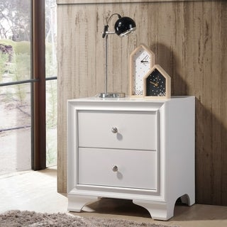 Wood Nightstand With 2 Drawers in White