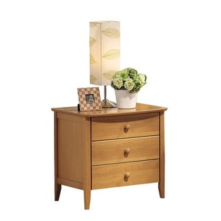 Wooden Nightstand with 3 Drawer , Maple Brown