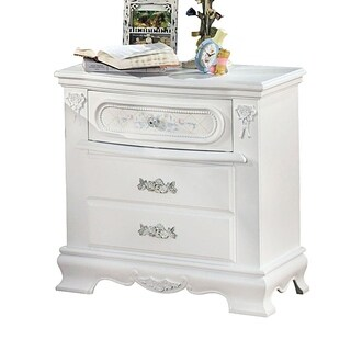 Wooden Nightstand With 3 Storage Drawer, White