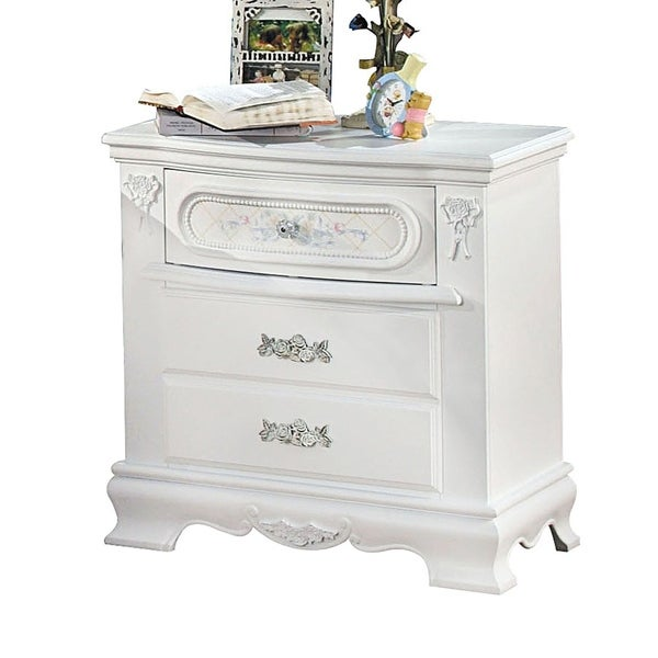 Wooden Nightstand with Two Spacious Storage Drawers, White