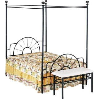 Metallic Full Size Canopy Bed With Starburst style Headboard & Footboard, Black