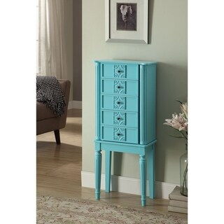 Wood Jewelry Armoire With 5 Drawers in Light Blue
