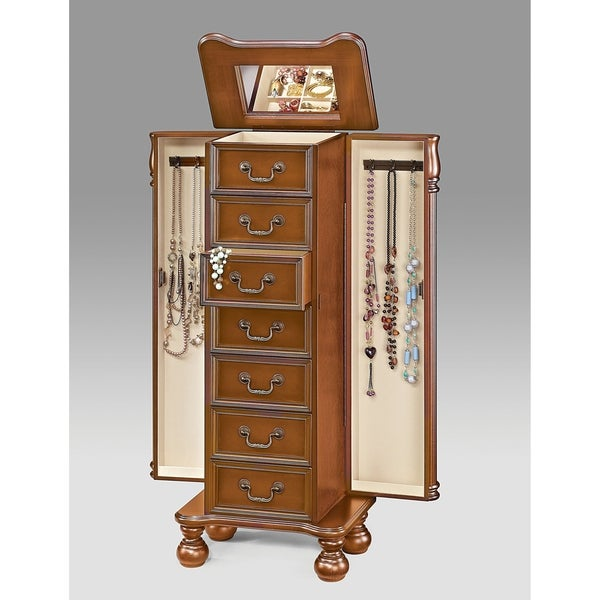 Wood Jewelry Armoire With 7 Drawers in Oak Brown