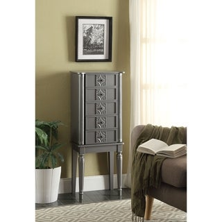 Link to Wood Jewelry Armoire With 5 Drawers in Silver Similar Items in Bedroom Furniture