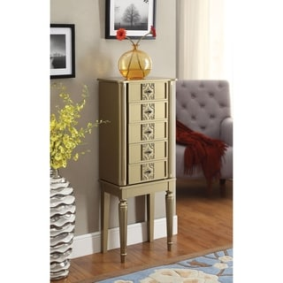 Wood Jewelry Armoire With 5 Drawers in Gold