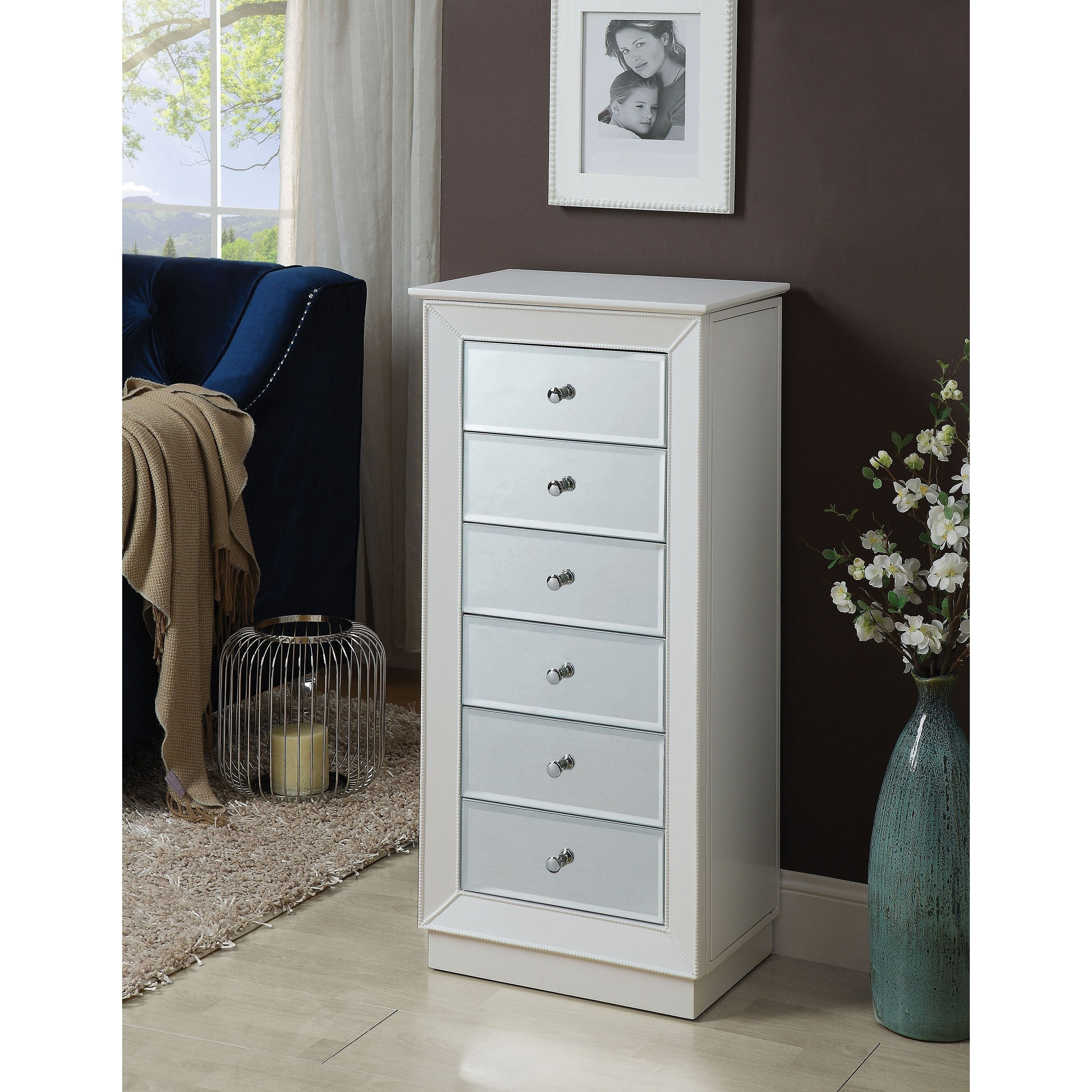 Wood Jewelry Armoire Having 6 Drawers With Mirror Front White