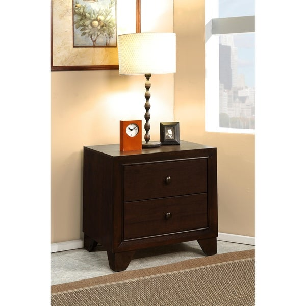 Wooden Night Stand with Two Drawer , Espresso Brown