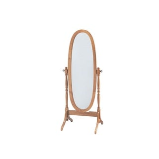 Wooden Cheval Mirror In Traditional Style, Oak Brown
