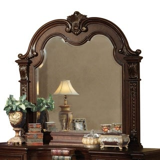 Traditional Style Wooden Frame Mirror, Cherry Brown - Oak Finish
