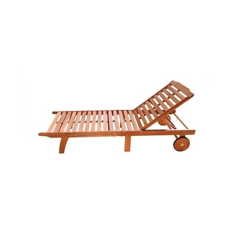 Vifah Malibu Single Outdoor Patio Hardwood Folding Sunbath Chaise Lounge