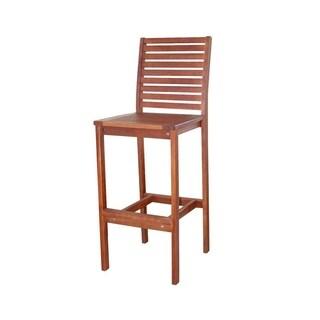Vifah Malibu Outdoor Patio Eucalyptus Hardwood Bar Chair in Natural Finish
