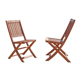 Vifah Malibu Outdoor Patio Eucalyptus Hardwood Folding Bistro Chair - Set of 2