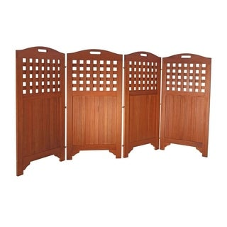 Vifah Malibu 46 Outdoor Patio Natural Hardwood Privacy Screen With 4 Panels
