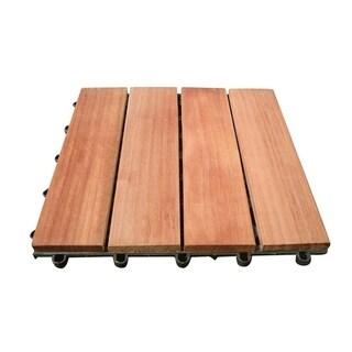 Vifah Outdoor Patio 4 Slat Acacia Interlocking Deck Tile in Teak Finish - Set of 10 Tiles