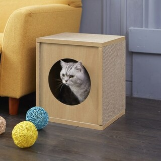 Way Basics Eco Cat Scratcher Cube and Cat House, Natural LIFETIME GUARANTEE