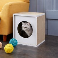 Way Basics Eco Cat Scratcher Cube and Cat House, White LIFETIME GUARANTEE