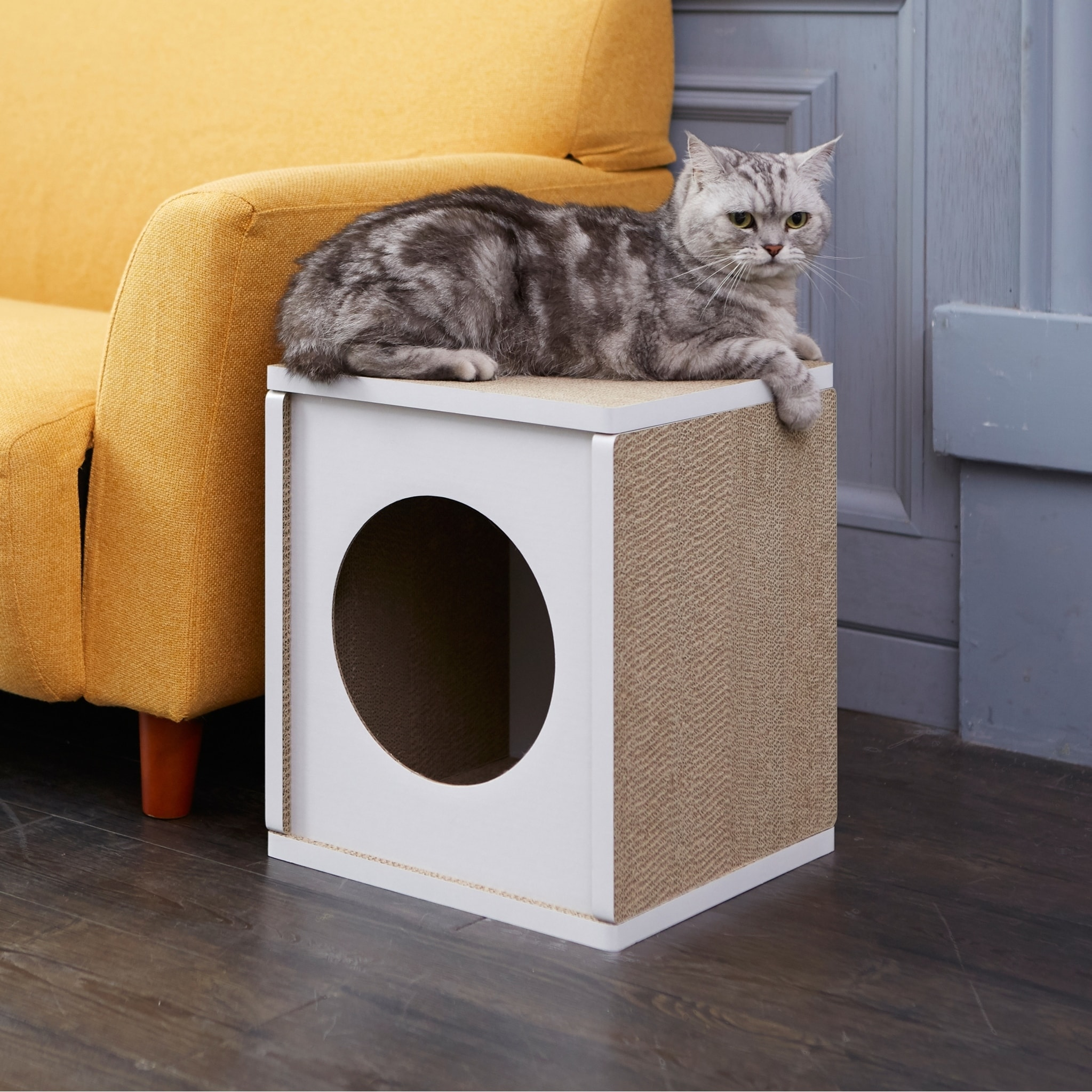 Way Basics Eco Cat Scratcher Cube And House White Lifetime Guarantee On Free Shipping Orders Over 45 22882720