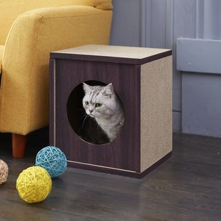 Way Basics Eco Cat Scratcher Cube and Cat House, Espresso LIFETIME GUARANTEE