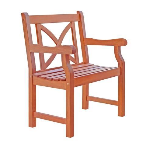 Vifah Malibu Outdoor Patio Eucalyptus Hardwood Garden Armchair with X-Back