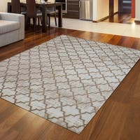 Admire Home Living Plaza Links Grey/Beige Area Rug - 7'9 x 11'