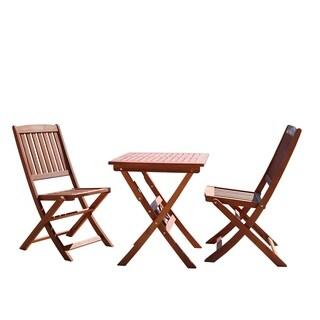 Vifah V03SET1 Malibu Outdoor Patio 3 Piece Eucalyptus Hardwood Bistro Set